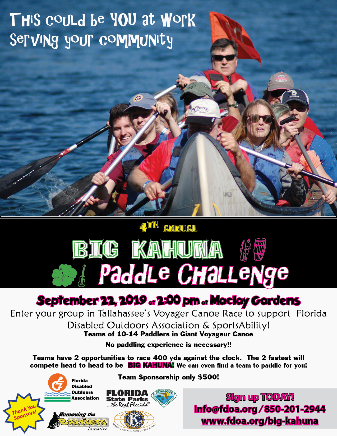 Big Kahuna Big Canoe Race flyer September 22 2019