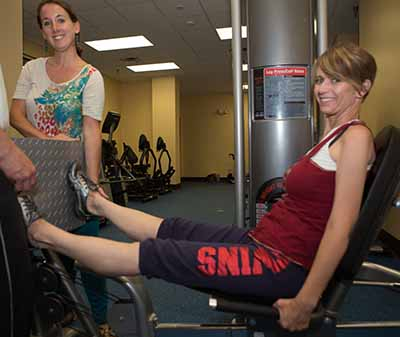 photo of Jennifer Carter and Pernille Urban working out at the Fred G. Shelfer Center in Tallahassee